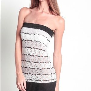 Black, White & Tan Knitted Strapless Sweater